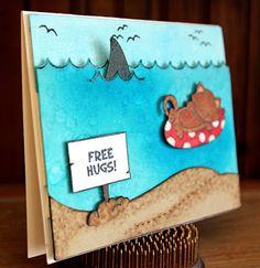 "Beach Shark Card with Sharks  and cat by Larissa Heskett   Shark Week ~ ""Shark Bites"" with Newton's Nook Designs!! =)"
