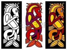 celtique: Élément ornement celtique avec cheval Illustration
