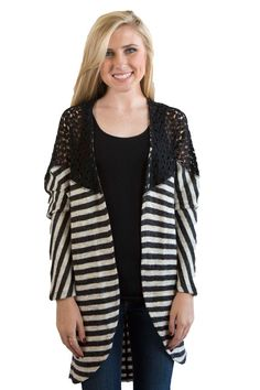 Black striped kimono sweater