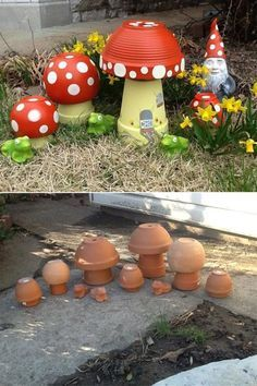 DIY Clay Pot Mushroom Toadstool Tutorials: Clay Pot Painting Crafts for Home and Garden Decor, Kids flower pot painting, mushroom DIY Tontopf Pilz Toadstool Tutorials Source by glsmcengiz Best and amazing diy ideas for your garden decoration 28 - GODIYGO. Flower Pot Crafts, Clay Pot Crafts, Diy Clay, Diy Crafts, Flower Pot Art, Clay Flower Pots, Creative Crafts, Flower Planters, Container Gardening