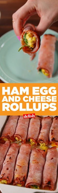 Ham, egg, and cheese roll-up. Get the recipe on Delish.com.