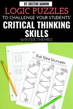 These winter logic games will test your students' critical thinking skills. Your 4th, 5th, and 6th grade students will love these high interest activities that review important math concepts and sharpen their critical thinking skills. These games require students to solve puzzles using addition, subtraction, multiplication, division, and fractions. #KristineNannini #LogicGames #ElementaryMath #ITeachFifth #ITeachFourth