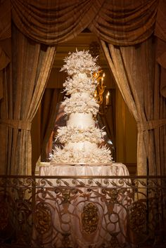 Lavish Five Tier Sylvia Weinstock Wedding Cake | Brian Dorsey Studios | The Plaza Grand Ballroom | TheKnot.com