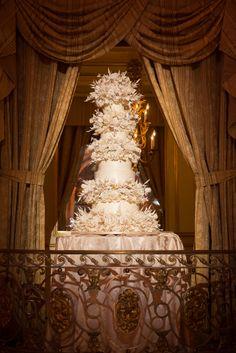 Lavish Five Tier Sylvia Weinstock Wedding Cake | Brian Dorsey Studios | The Plaza Grand Ballroom | TheKnot.com