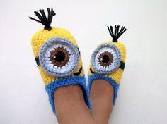 Crochet de Minion Despicable Me chaussons, pantoufles Minion - avec semelles anti dérapantes (pour les enfants âgés de 1 ans et plus)