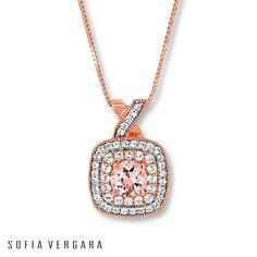 sofia vergara jewelry collection | Kay - SOFIA VERGARA Necklace Morganite/White Topaz 10K Rose Gold