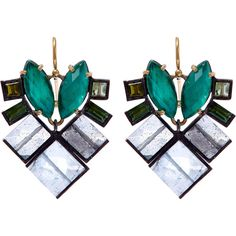 Nak Armstrong Green Gemstone Mosaic Drop Earrings ($2,135) ❤ liked on Polyvore featuring jewelry, earrings, gemstone earrings, green gem earrings, green jewelry, gem earrings and fish hook earrings