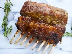 Herb Crusted and Honey Glazed Rack of Lamb from A Dash of Soul