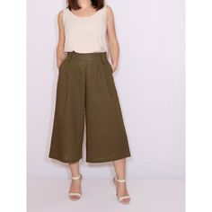 Army Green Linen Culottes High Waist Wide Leg Capris With Pockets ($44) ❤ liked on Polyvore featuring pants, capris, grey, women's clothing, pull on capris, high waisted pants, capri pants, army green pants and high-waisted pants