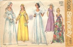 Simplicity 9260 C Vintage 1970s Wedding Dress Pattern B36