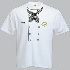 MENS CHEF T-SHIRT (Chefs Whites) DESCRIPTION This Fabulous CHEF T-SHIRT (Chefs Whites) is custom printed on a Fruit of The Loom 100% cotton