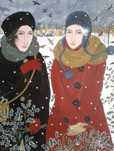 Dee Nickerson.   I love this for so many reasons, the richness of tbe color, the way the artist captured the wind, the blessed imperfection of their faces