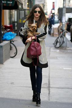 March 12 2012 Wearing a Marni printed coat and jeans while out in New York with her dog, Frankie.