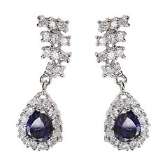 Beautiful Blue Platinum Plated With Oval Shape Cubic Zirconia Earrings – USD $ 14.99