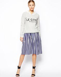 エイソス(ASOS)膝丈ストライプフレアスカート  ASOS Woven Midi Skirt in Stripe 1