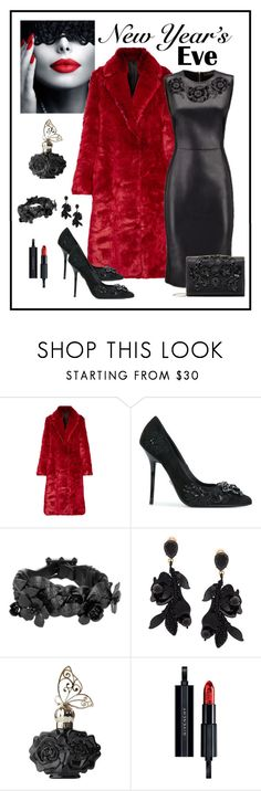 """""""Versace Baroque Embroidery Leather Dress Look"""" by romaboots-1 ❤ liked on Polyvore featuring Calvin Klein 205W39NYC, Versace, Valentino, Oscar de la Renta, Anna Sui and Givenchy"""