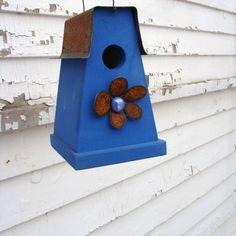 Rustic Cobalt Blue Birdhouse Metal Art  Flower by baconsquarefarm.