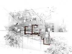 how to draw stitch Architecture Concept Drawings, Architecture Collage, Architecture Graphics, Architecture Portfolio, Architecture Design, Rendering Drawing, Architectural Section, Photocollage, Planer