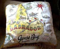 Souvenir Map Pillow Goose Bay Labrador