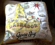 Souvenir Map Pillow Goose Bay Labrador