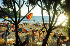 view of Kata Beach and people before sunset, Phuket