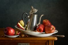 Old Teapot and Fresh Red Apples ❛❛❛by Nikolay Panov