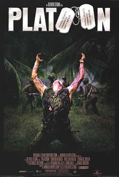 1986: Platoon The original poster was a much simpler one with an upside down army helmet, but Oliver Stone cashed in on one of the most memorable war film moments and made that still the poster fairly quickly.