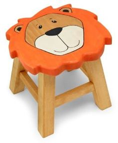 Childrens Pine Wooden Lion Kids Stool
