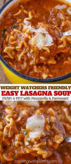 Diet Recipes Weight Watchers Lasagna Soup - Easy Lasagna Soup made with Turkey, lasagna noodles, cheese, tomato sauce and fresh herbs and spices in a satisfying and filling meal. Weight Watchers Desserts, Weight Watcher Dinners, Weight Watchers Chili, Wieght Watchers, Weight Watchers Lunches, Ww Recipes, Soup Recipes, Cooking Recipes, Dinner Ideas