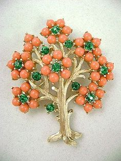 "Vintage TRIFARI Rhinestone & Faux Coral ""Flowering Tree"" Pin"