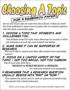 This relates to our unit because it gives pointers on how to choose a topic for a research paper. For example, it is helpful to choose a topic that you are interested in or want to learn more about when choosing a topic (Demi).