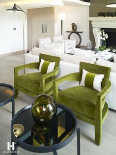 Image result for kelly hoppen interiors green chairs