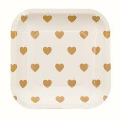 Assiettes carrées semi coeur or - Lot de 10