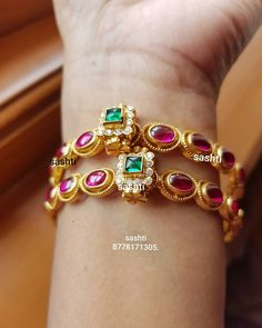 Best Diamond Bracelets : Beautiful silver bangle with gold polish. Bangle studded with rubies and emerald Plain Gold Bangles, Ruby Bangles, Gold Bangles Design, Gold Earrings Designs, Silver Bangles, Jewelry Design, Diamond Bracelets, Silver Necklaces, Silver Ring