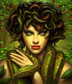 """In Greek mythology Medusa (""""guardian, protectress"""") was a monster, a Gorgon, generally described as having the face of a hideous human female with living venomous snakes in place of hair. Description from pinterest.com. I searched for this on bing.com/images"""