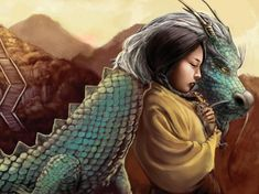Dragon and Girl; Namaahs Kiss by Jacquelin Carey cover illustration from the book Dragonkeeper