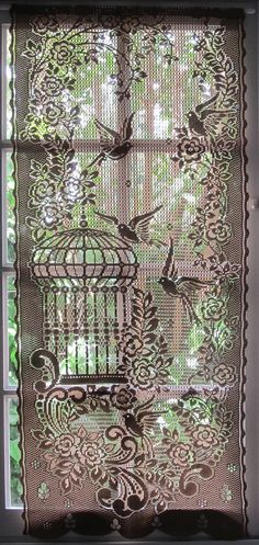 Brown Lace Curtain French Window Curtain Bird by HatchedinFrance, $25.00