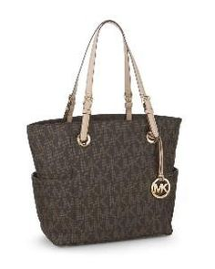 Michael Kors Mk Logo E W Signature Tote Brown Designer Handbags