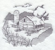Machine Embroidery Designs at Embroidery Library! - Farm and Country (Redwork and Vintage) Folk Embroidery, Hand Embroidery Patterns, Vintage Embroidery, Machine Embroidery Designs, Coloring Books, Coloring Pages, Wood Burning Patterns, Country Scenes, Barn Quilts