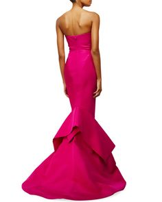 "Zac Posen faille gown. Approx. 60""L from top of dress to hem. Strapless, pleated sweetheart neckline. Fitted silhouette. Handkerchief hem falls to the floor. Train at back. Hidden back zip. Silk self"
