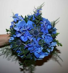 hydrangea AND sea holly AND delphiniums Thistle Bouquet, Thistle Wedding, Sea Holly, Hydrangea, Hanukkah, Wedding Flowers, Delphiniums, Wreaths, Decor