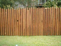 Vertical Hardwood Paling Fence with Balau Inserts