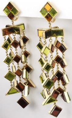 Trifari 'Hall of Mirrors' Giant Green and Brown Mirror Glass Quintuple Pendant Clip Earrings