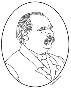 grover cleveland 24th president clip art coloring page or mini poster