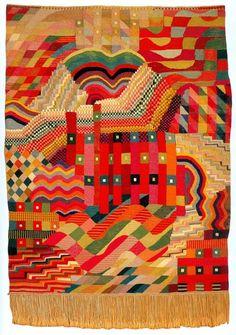 """art textile allemand : Gunta Stölzl, 1927, tapisserie, """"Rot-Grün"""", Bauhaus, femmes artistes, 1920s"""