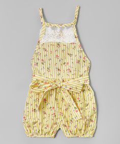 Another great find on #zulily! Lemon & Cream Floral Lace Bubble Romper - Toddler & Girls #zulilyfinds