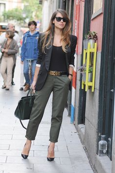 2015 blazer: Alexander McQueen  body: Miss Selfridges/  /belt: Moschino /trouses: Zara /handbag: Saint Laurent /shoes: Valentino