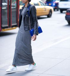 long dress, moto & Stan Smiths. perfect weekendy chill fest. NYC.