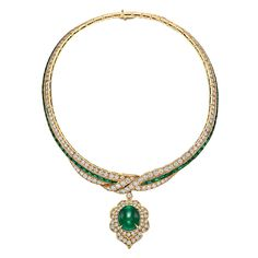 Van Cleef & Arpels Emerald Diamond Gold Pendant Necklace | From a unique collection of vintage choker necklaces at https://www.1stdibs.com/jewelry/necklaces/choker-necklaces/