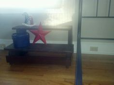 Steps I sanded and stained. Got from the neighbors trash and turned into my sons bedside table!